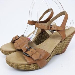 Naya NEW Leather Wedge Platform Sandals 10 Tan